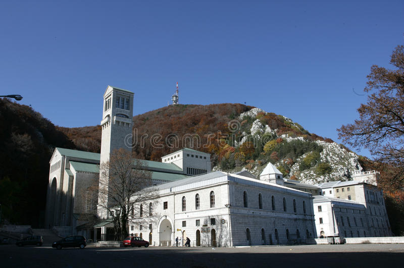 View of church of virgin mountain. Seen frontal church with mountain in distance stock image
