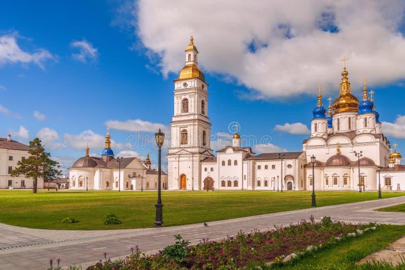 View of the churches of the Tobolsk Kremlin.Tyumen region.Russia royalty free stock photos