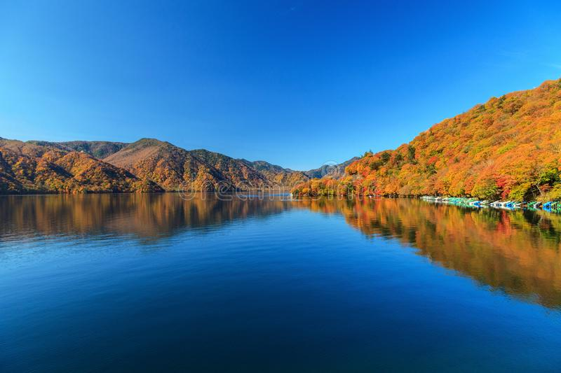 View of Chuzenji lake in autumn season with reflection water in royalty free stock image