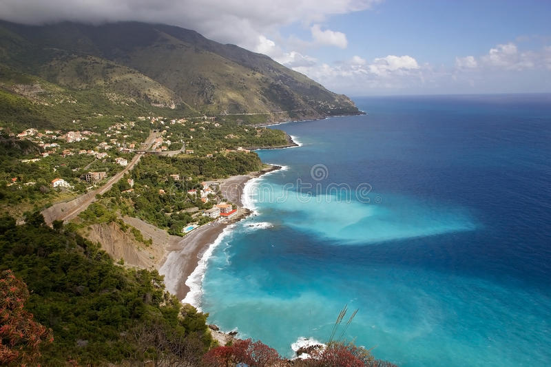 View of the Cilento coast, Italy. View of the Cilento coat along the Tyrrhenian sea, Italy. Cilento is an important touristic area in south of Italy stock photo
