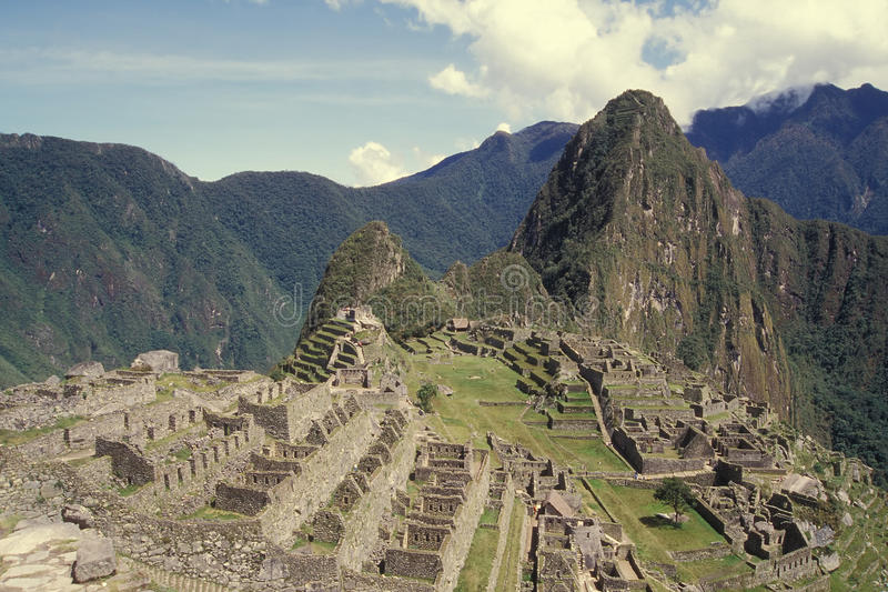 View of the Citadel of Machu Picchu, Peru. Declared UNESCO World Heritage Site royalty free stock photo