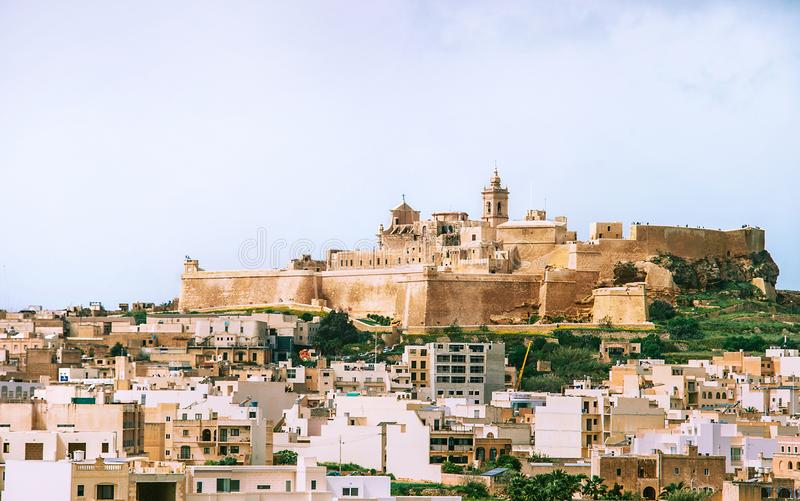View of citadel with main city Victoria on the foreground from the north on Gozo island, Malta stock images