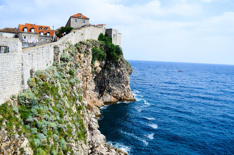 View of the citadel in the old town of Dubrovnik. The citadel in the old town of Dubrovnik,Croatia and the sea royalty free stock images