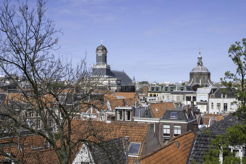 Rooftops over Leiden Netherlands. View from the citadel over the red rooftops of Leiden Netherlands stock image