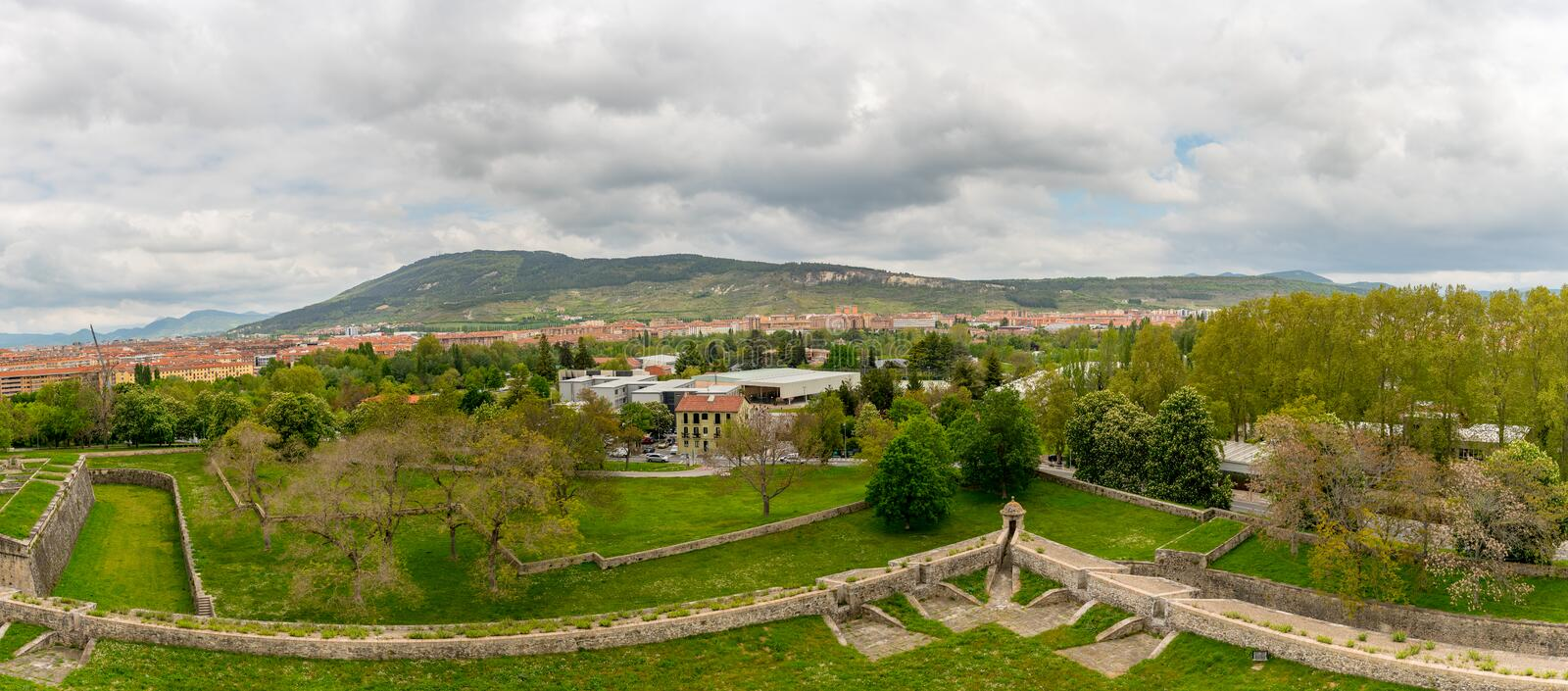 View of the citadel in Pamplona, Spain.  stock images