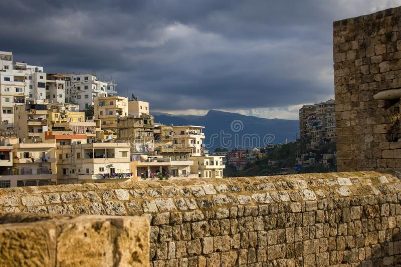 View from the Citadel on a residential area of Tripoli, Lebanon. Tripoli, Lebanon - January 15, 2016: View from the Citadel on a residential area of Tripoli stock photography