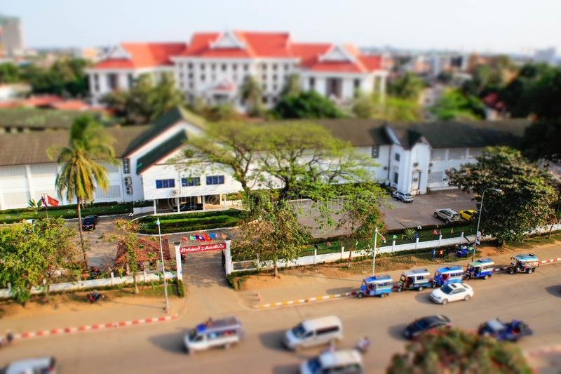 A view of the city from above from the central gates in tiltshift style royalty free stock image