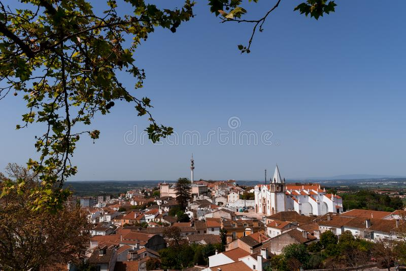 View on the city of Abrantes, with the Tower and Church of São Vicente, Portugal. View from the top of the castle town of Abrantes. Framed by plantain branch royalty free stock photos