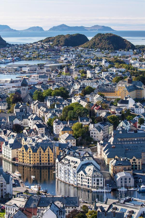 Alesund from Aksla. View of the city of Alesund from the top of the mount Aksla, More og Romsdal, Norway stock images