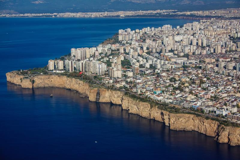 View of Antalya from the window of the airplane royalty free stock photos
