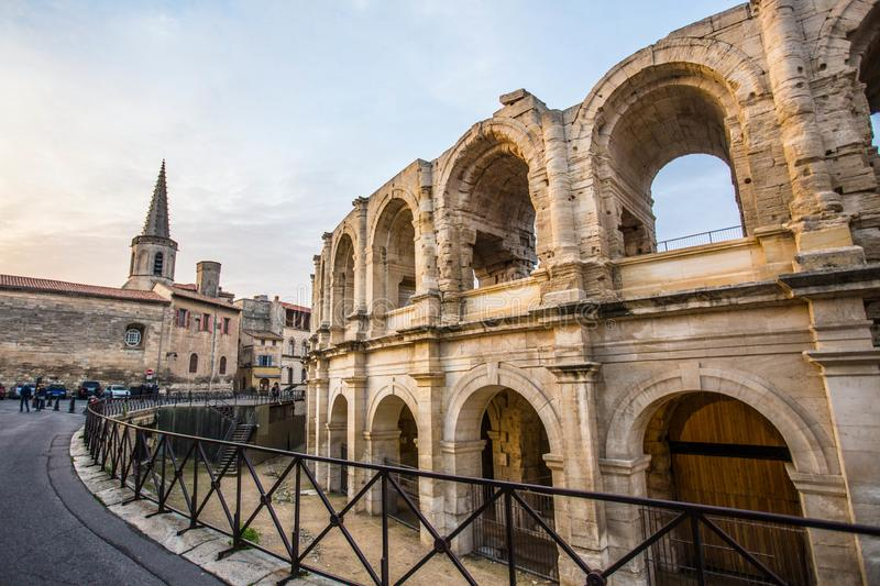 View of the city of Arles in France. View of the city of Arles in Provence, France,shot at sunset stock images