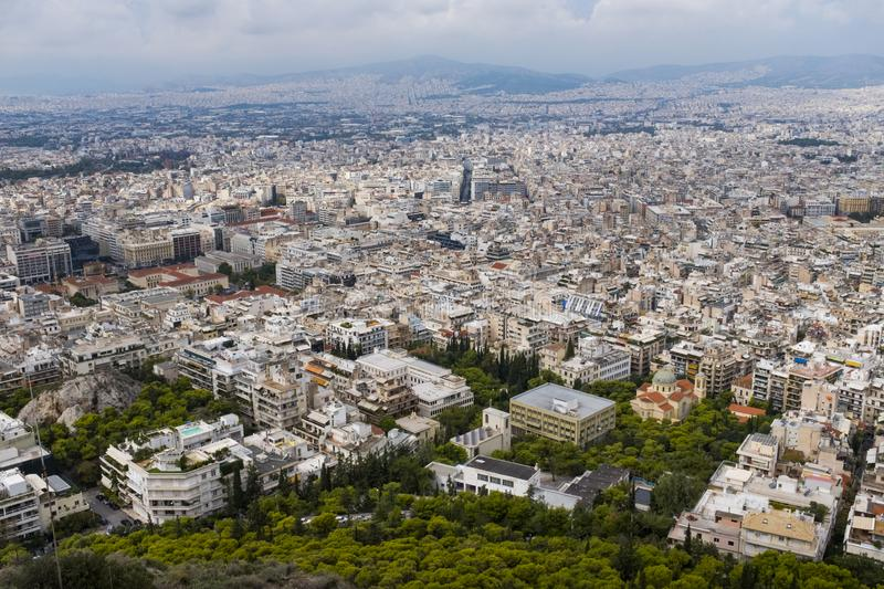 View from the top of Lykavittos Hill, Athens. View of the city of Athens from Athens highest point, Lykavittos Hill stock photography