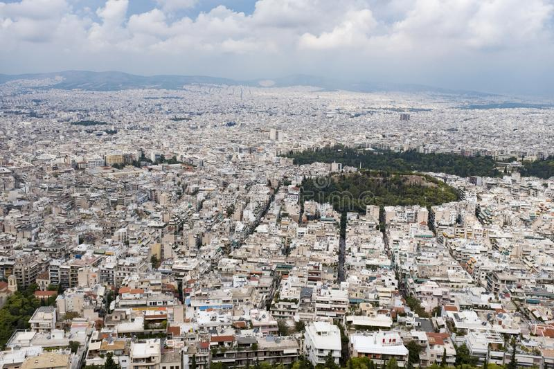 View from the top of Lykavittos Hill, Athens. View of the city of Athens from Athens highest point, Lykavittos Hill stock photo