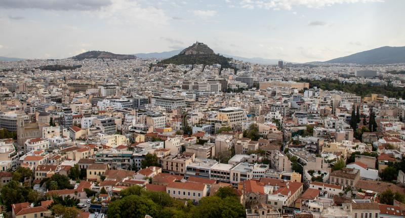 View of the City of Athens royalty free stock photo
