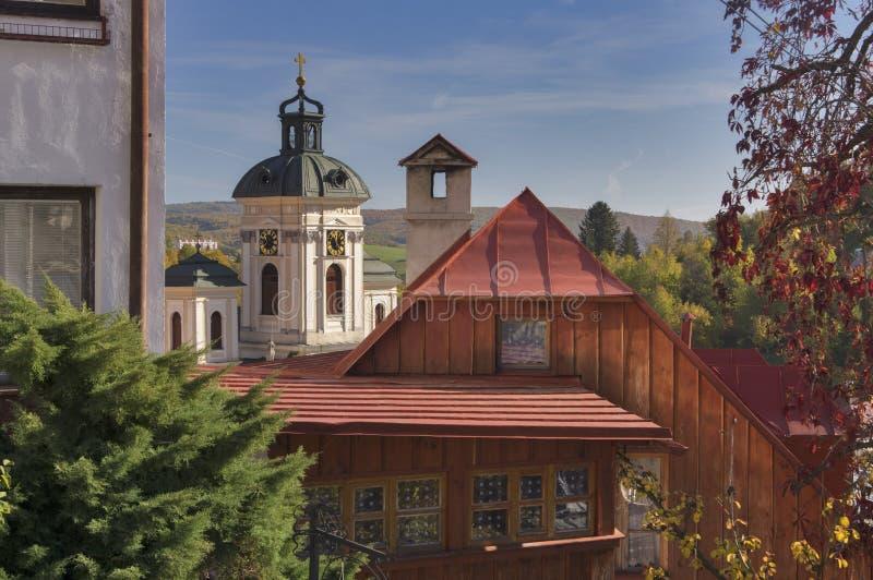 View from city of Banská Štiavnica stock images