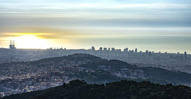 View of the city at sunrise stock images
