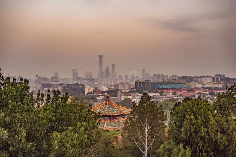 View of the city of Beijing from a height. China stock photo