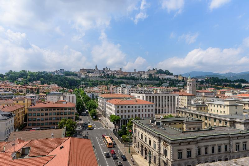 View of the city of Bergamo royalty free stock image