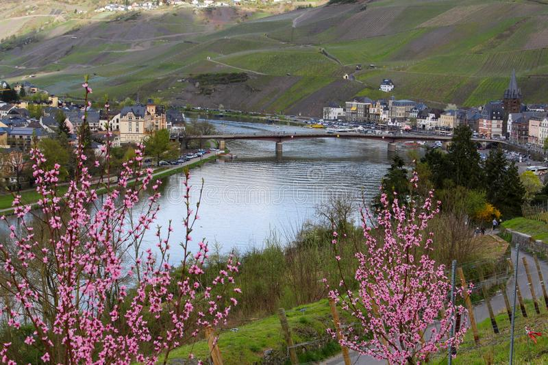 View at the city Bernkastel-Kues and the river Moselle, Germany royalty free stock photo