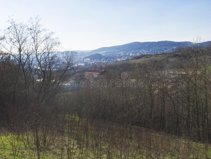 View on city Beroun from hill above, early spring, Czech Republic.  stock images