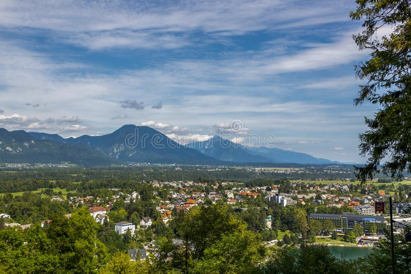 View of the city of Bled in Slovenia royalty free stock photos
