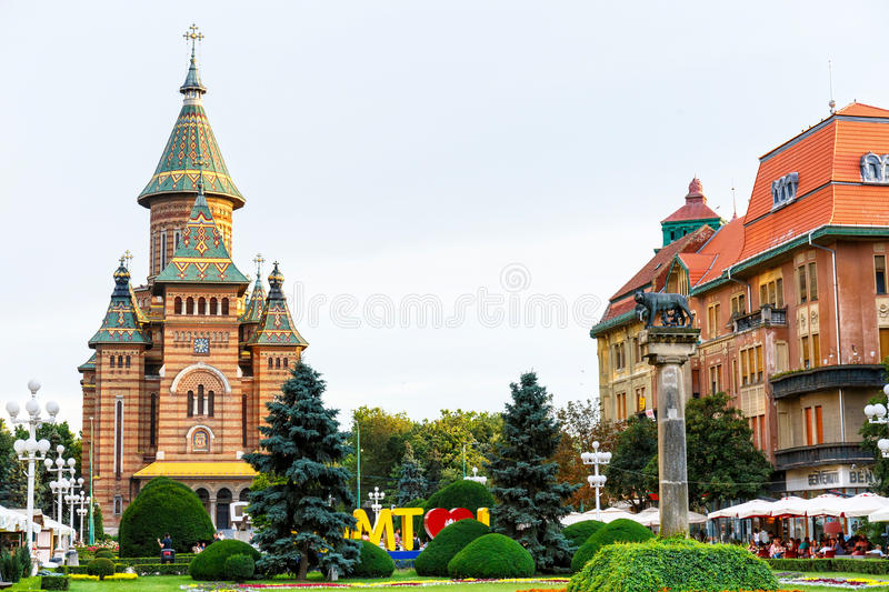 View of city center in Timisoara on July 22, 2014 royalty free stock images
