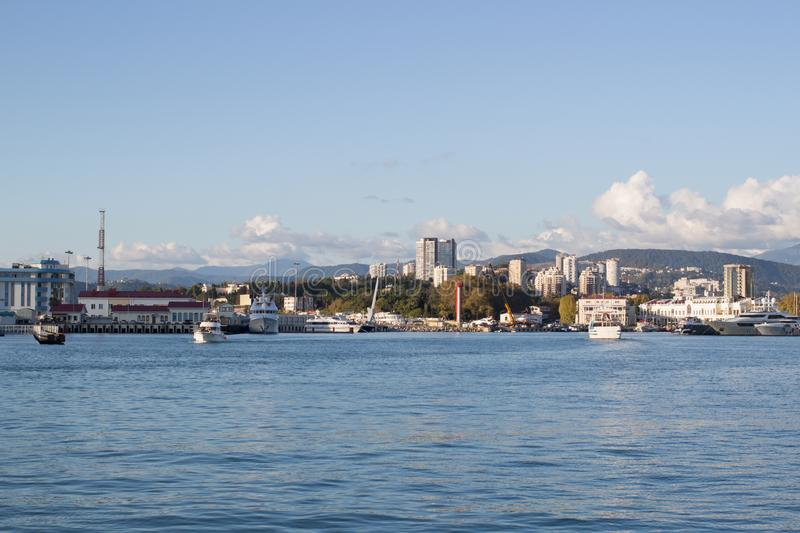 View of the city coast from the sea, ship. View of the city coast from the sea daytime royalty free stock photography