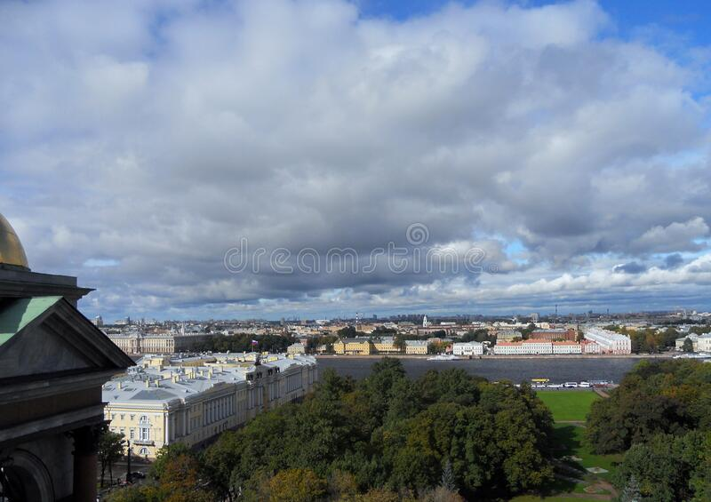 View of the city from the colonnade of St. Isaac`s Cathedral. stock photos
