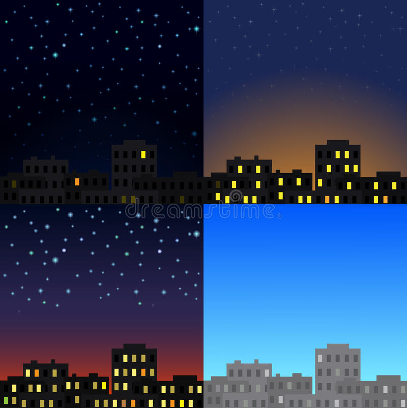 View of the city at different times of day. royalty free illustration