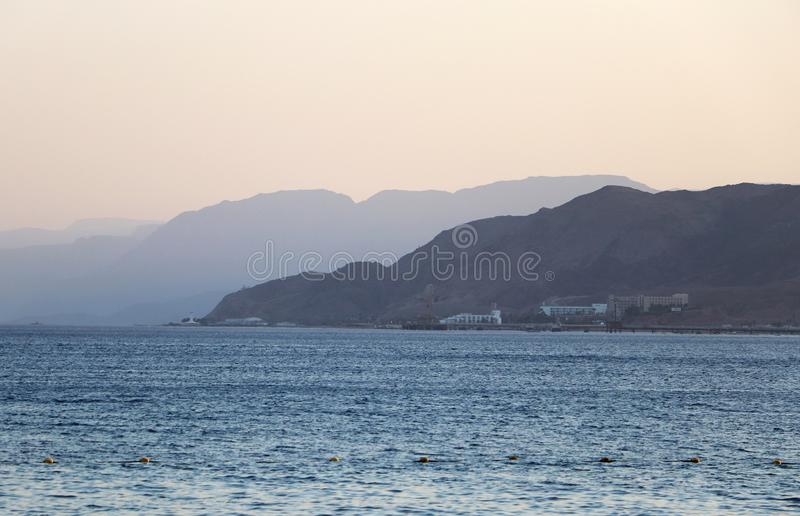 View of the city of Eilat, the Red Sea and mountains royalty free stock images