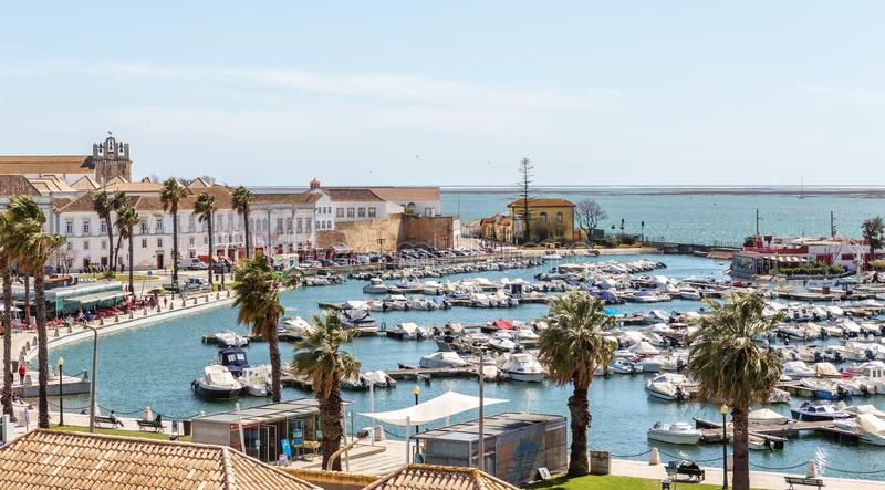 View of old city of Faro from the top, to the marina royalty free stock photo
