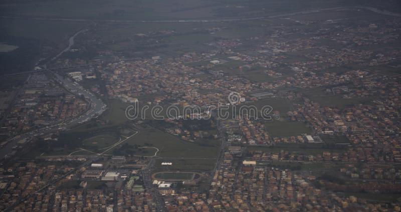View of the city of Fiumicino from the aircraft stock photography