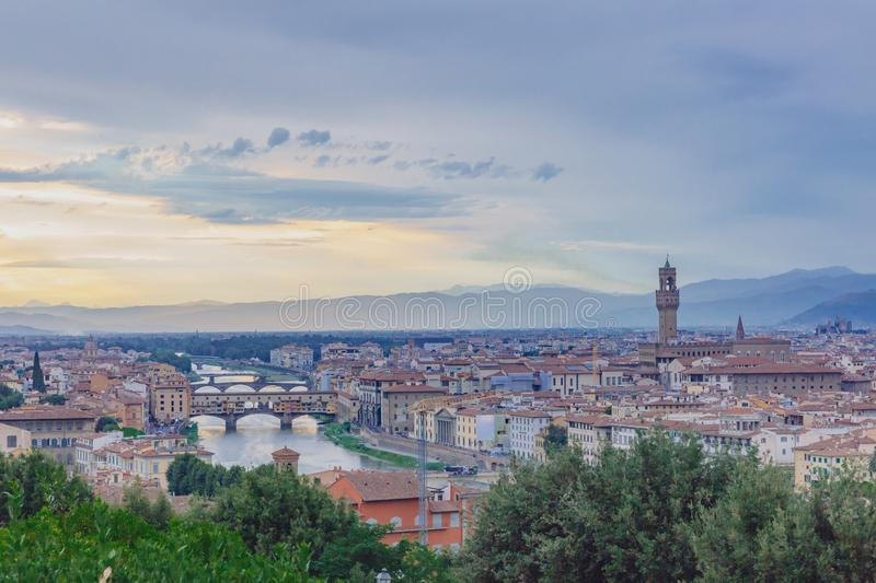 View of the city of Florence, Italy under sunset, viewed from Pi stock images