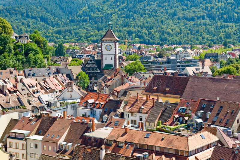 View of the city of Freiburg in Germany stock photography
