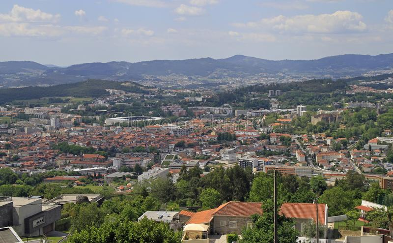 View of the city Guimaraes from Mount Penha stock photo