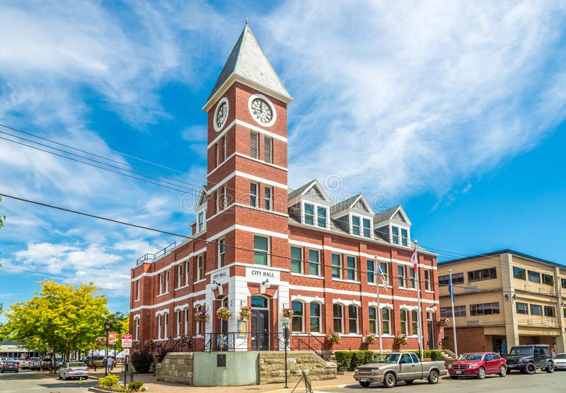 View at the City hall building in Duncan - Canada. DUNCAN,CANADA - JULY 5,2018 - View at the City hall building in Duncan. Duncan is `The City of Totems`. The royalty free stock image