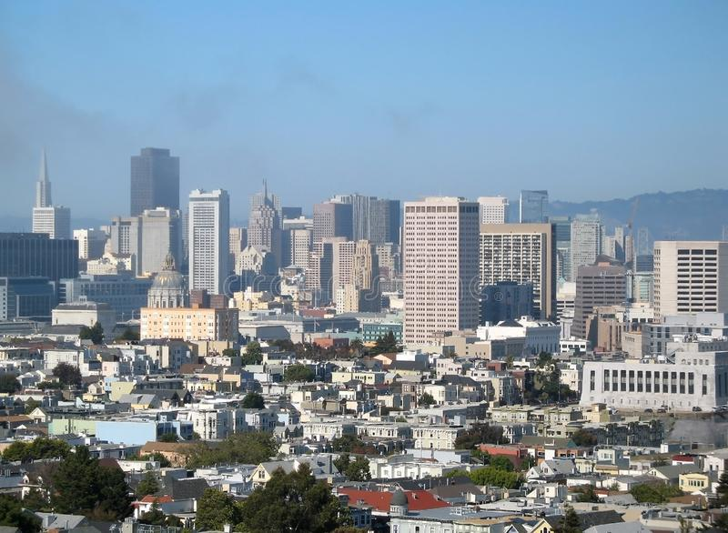View of the city hall and the downtown of San Francisco , California,  United States of America. View of the city hall and the downtown of San Francisco on a stock image