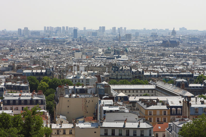 View of the city from the hilltop of Montmartre royalty free stock image