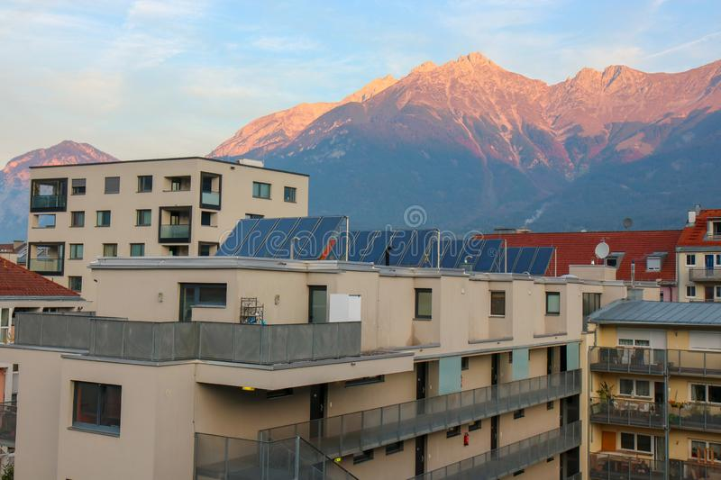 View of the city of Innsbruck at Austria. Innsbruck, Austria - Oct 18, 2018 : A view along of the city of Innsbruck at Austria stock photo