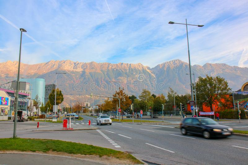 View of the city of Innsbruck at Austria. Innsbruck, Austria - Oct 18, 2018 : A view along of the city of Innsbruck at Austria royalty free stock images