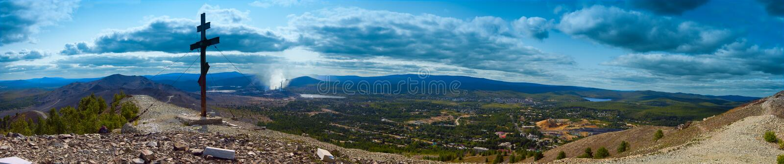 A view of the city of Karabash. Panorama. View from the Pious Cross royalty free stock images