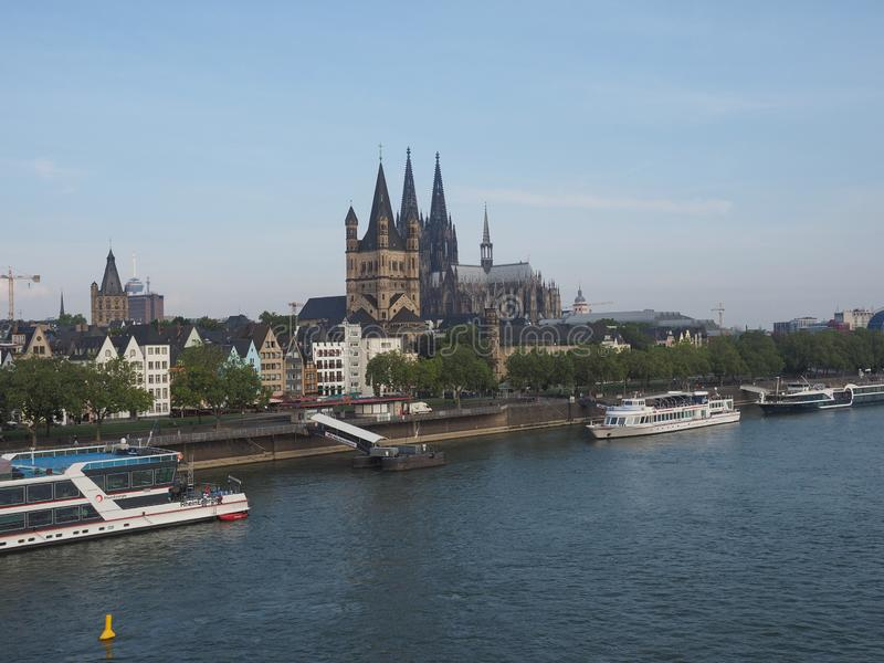 View of the city of Koeln. KOELN, GERMANY - CIRCA AUGUST 2019: View of the city skyline from the river royalty free stock photography