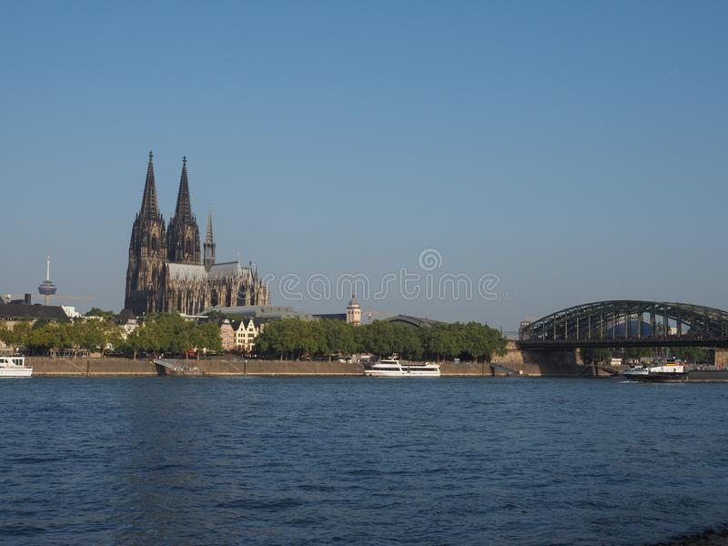 View of the city of Koeln. KOELN, GERMANY - CIRCA AUGUST 2019: View of the city skyline from the river royalty free stock image