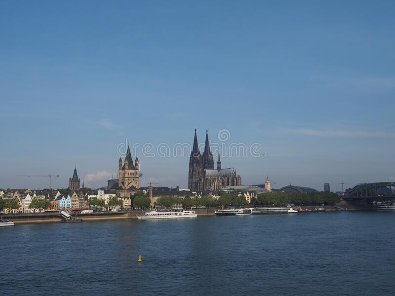View of the city of Koeln. KOELN, GERMANY - CIRCA AUGUST 2019: View of the city skyline from the river stock photography