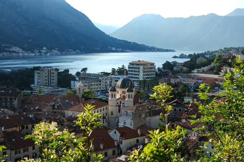 View of the city of Kotor, Montenegro. Mountains and the Adriatic Sea. Spring, May, 2014. stock photo