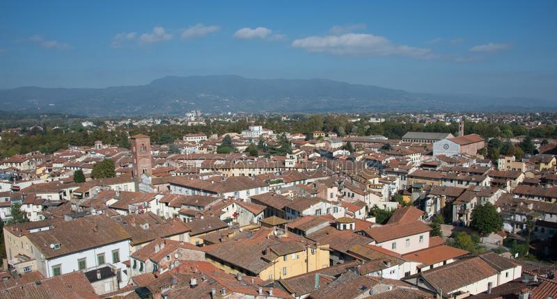 A view of the city of Lucca in a bright beautiful day. royalty free stock images