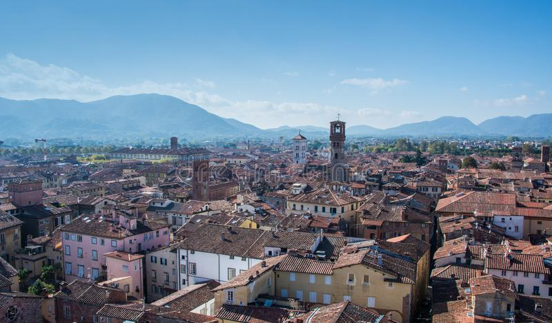 A view of the city of Lucca in a bright beautiful day. stock photos