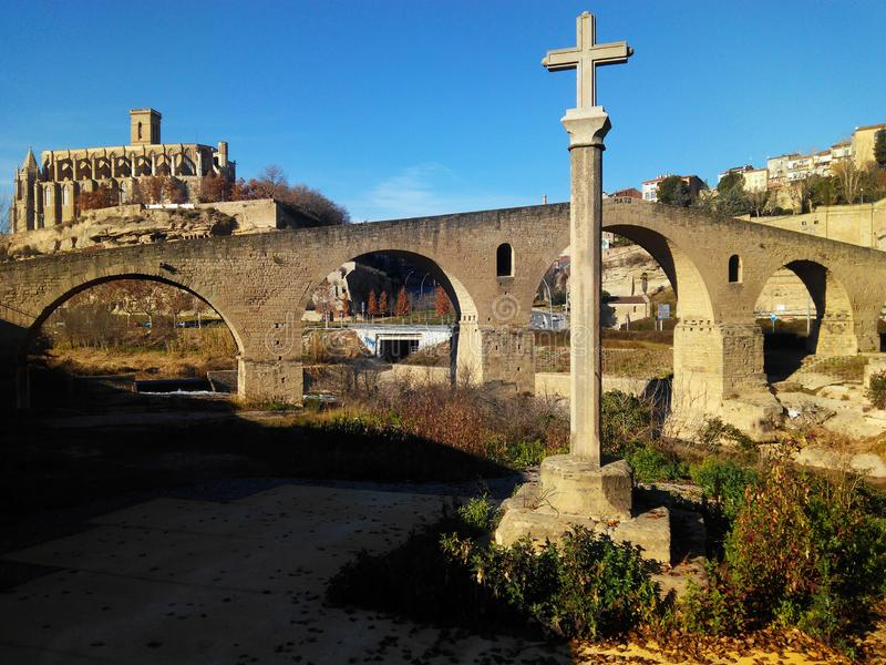View of the city of Manresa. Spain. Cross medieval bridge and cathedral of the city of Manresa. Barcelona. Spain royalty free stock images