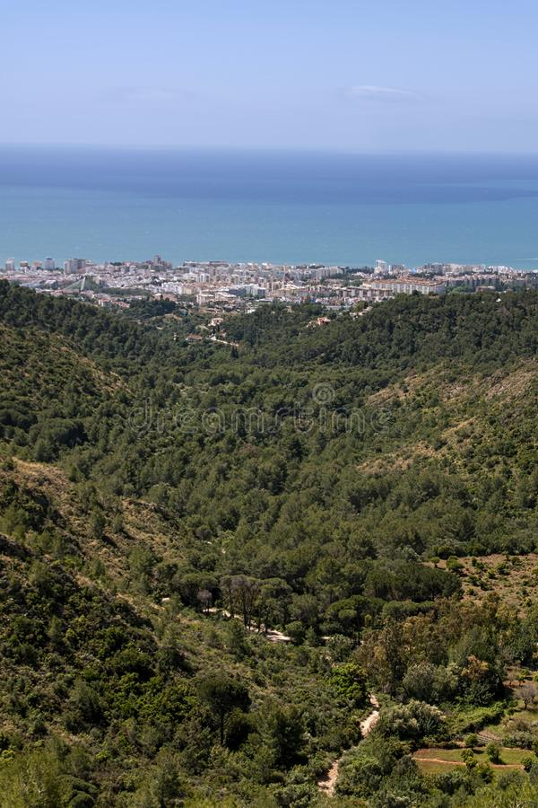 View of the city of Marbella Sierra Blanca. Views of the coast of the city of Marbella on the Costa del Sol in Andalusia, Spain stock photo