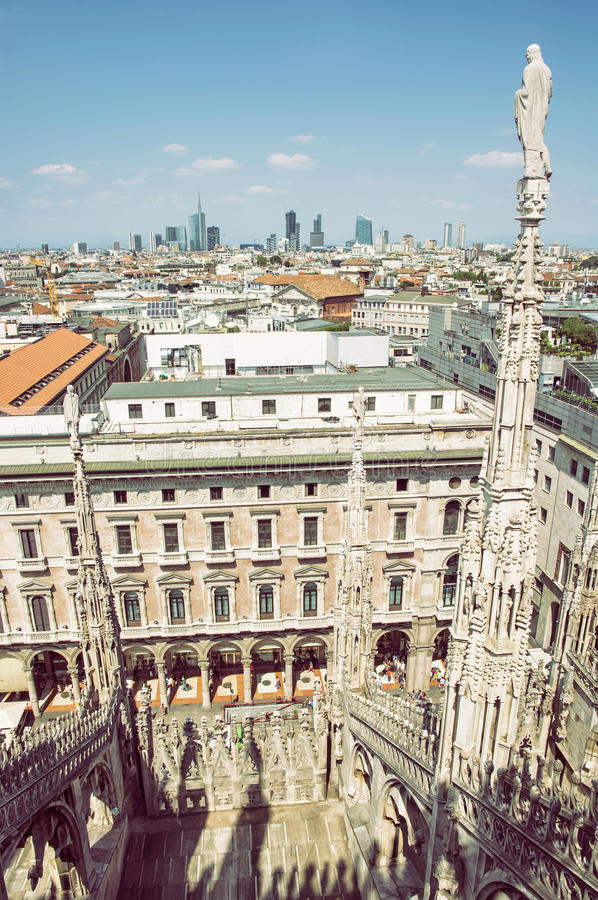 View of the city Milan from the Duomo cathedral, Italy royalty free stock photo